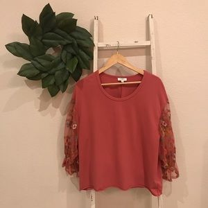 [Umgee] Pink Floral Sweater